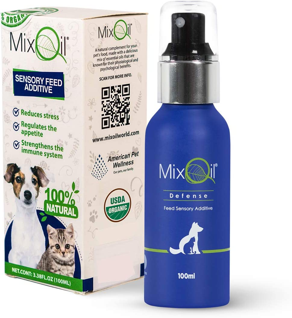 Mix Oil Defense - Natural Antibiotic for Dogs - Organic Essential Oils - Immune System Booster/Cat- Dog Allergy Medicine Support/Dental Care Water Additive/USDA Certified