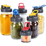 6 Pack of Flip Cap Mason Jar Lids with Leak-proof & Airtight Seal and Easy Pour Spout - Regular Mouth