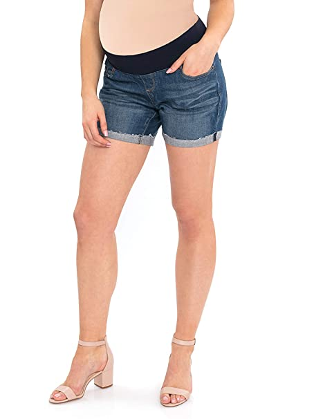 c7d074e96a853 Great Expectations Maternity Denim Shorts Fit to Flatter (Medium Wash,  Small 4-8) at Amazon Women's Clothing store: