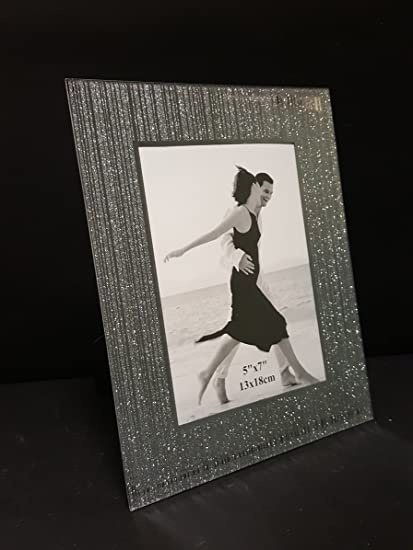 """New Mirrored Glass 4/""""x6/"""" Photo Picture Frame Silver Shimmer Glitter Effect"""