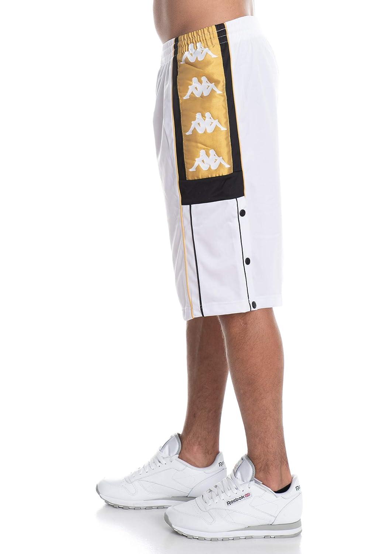 06-d23d-qhny 82589 Kappa Shorts Bianco Nero Oro 3031tg0-909 (m - Bianco)