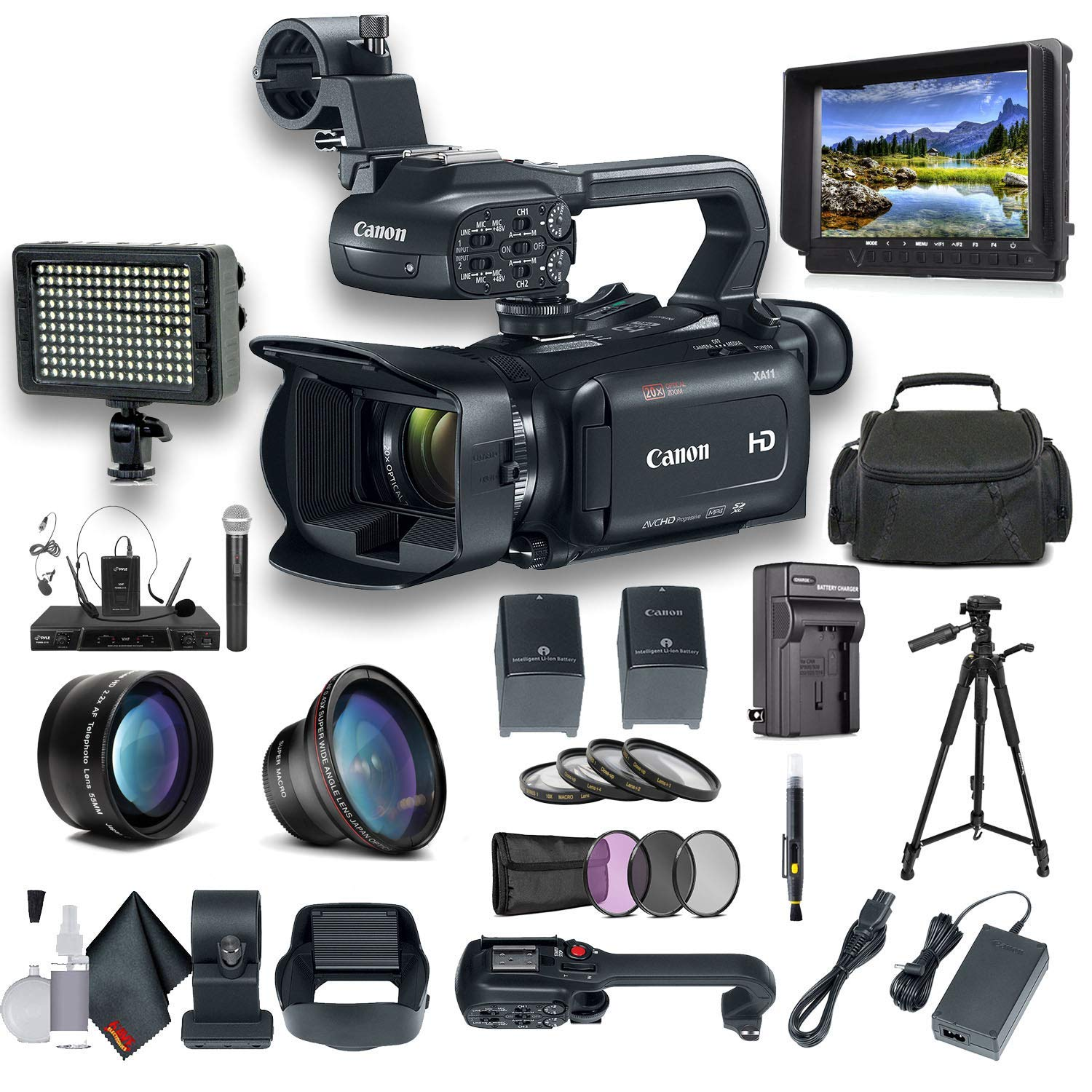 Canon XA11 Compact Full HD Camcorder with HDMI and Composite Output Professional Bundle. Includes Extra Battery, Case, LED Light, External Monitor, Mic, Tripod and More by Canon