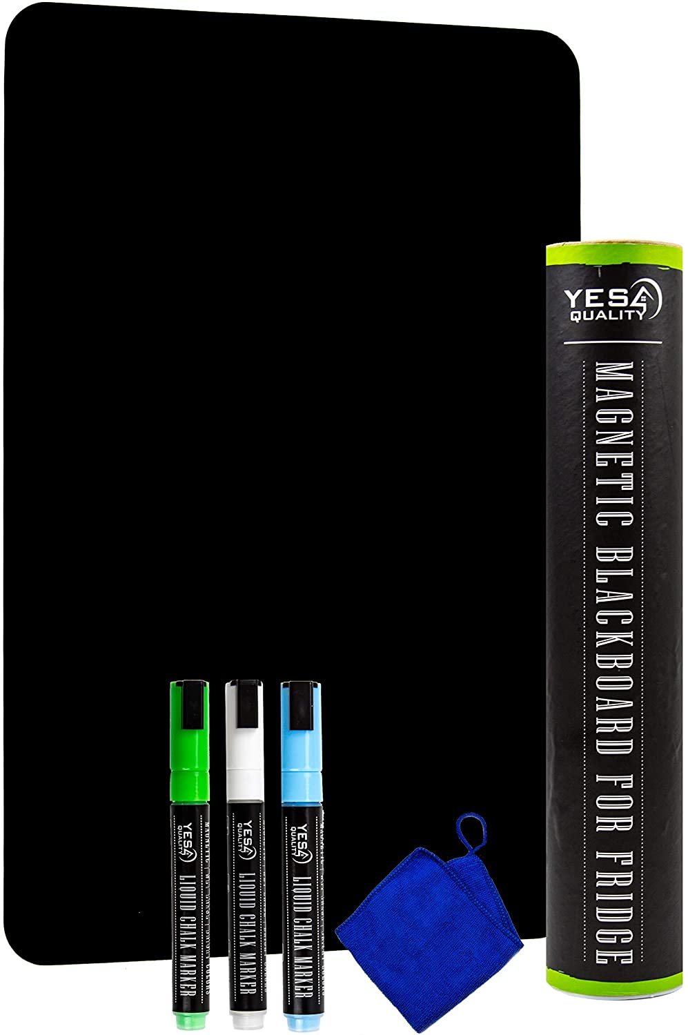 Magnetic Black Dry Erase Board for Fridge with Easy-Erase Surface - 12 x 8 in - Includes 3 Neon Chalk Markers and Eraser - Refrigerator Chalkboard