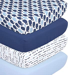 The Peanutshell Nautical Fitted Crib Sheet Set - 4 Pack Nursery Set - Solid Blue, Whale Theme, & Waves