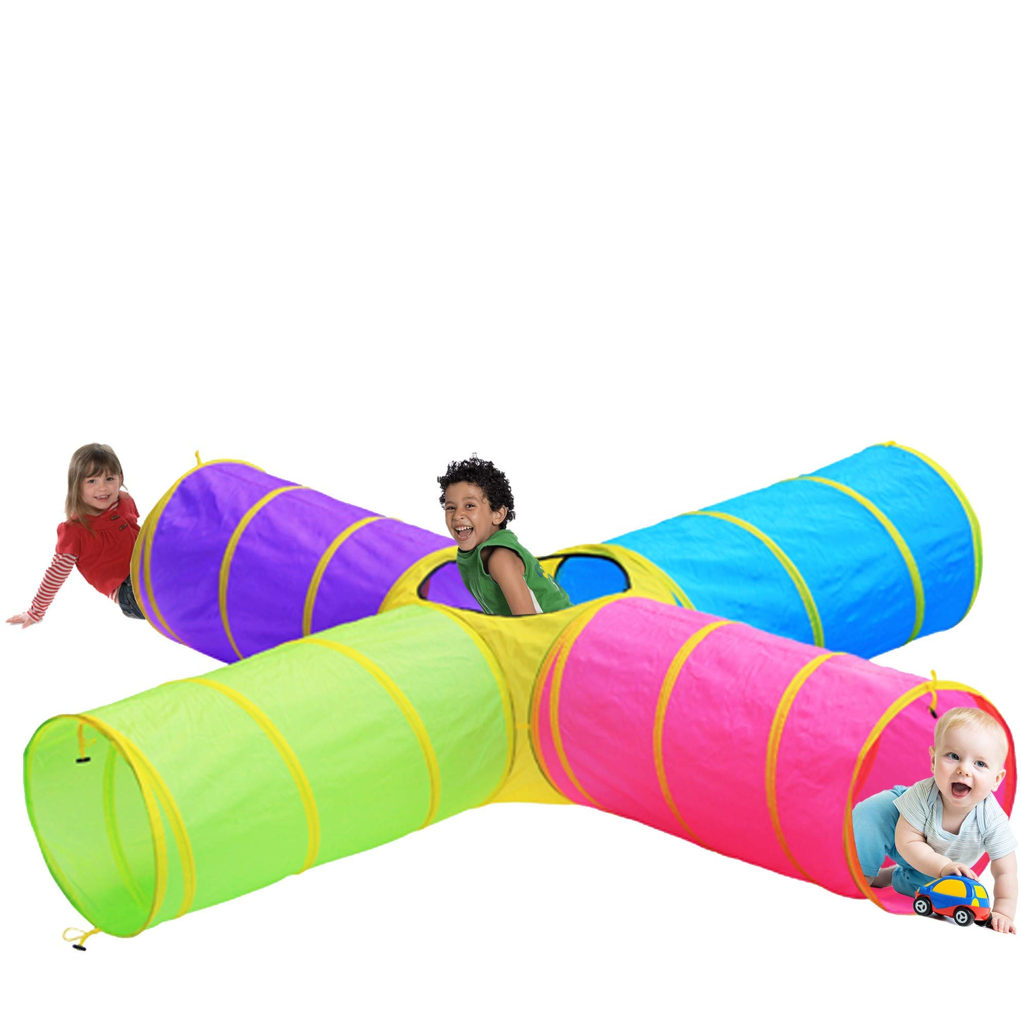 Hide N Side Kids Play Tunnels, Indoor Outdoor Crawl Through Tunnel for Kids Dog Toddler Babies Children , Pop up Tunnel Gift Toy by Hide N Side