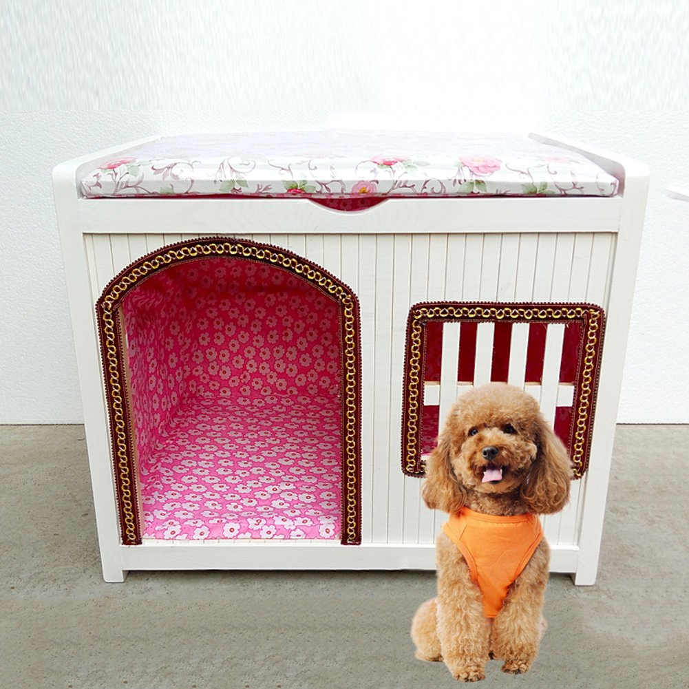 D 453035CM D 453035CM Nclon Solid wood Home Dog house Dog kennel Dog house Cage Dog shelter With door Cat litter Pet Changing shoes stool-D 45  30  35CM