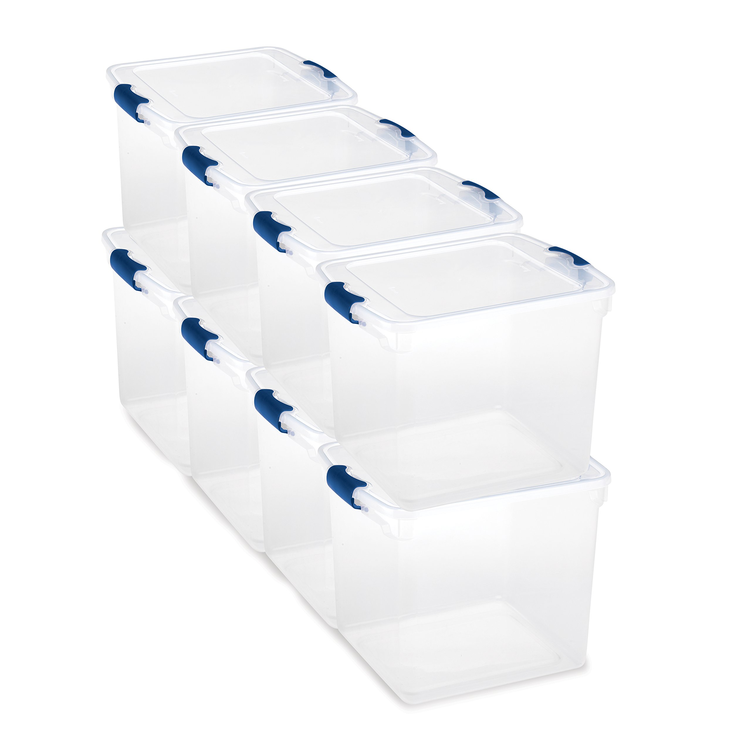 Homz Plastic Storage Tote Box, with Lid, Latching Handles, 31 Quart, Clear, Stackable, 8-Pack by Homz