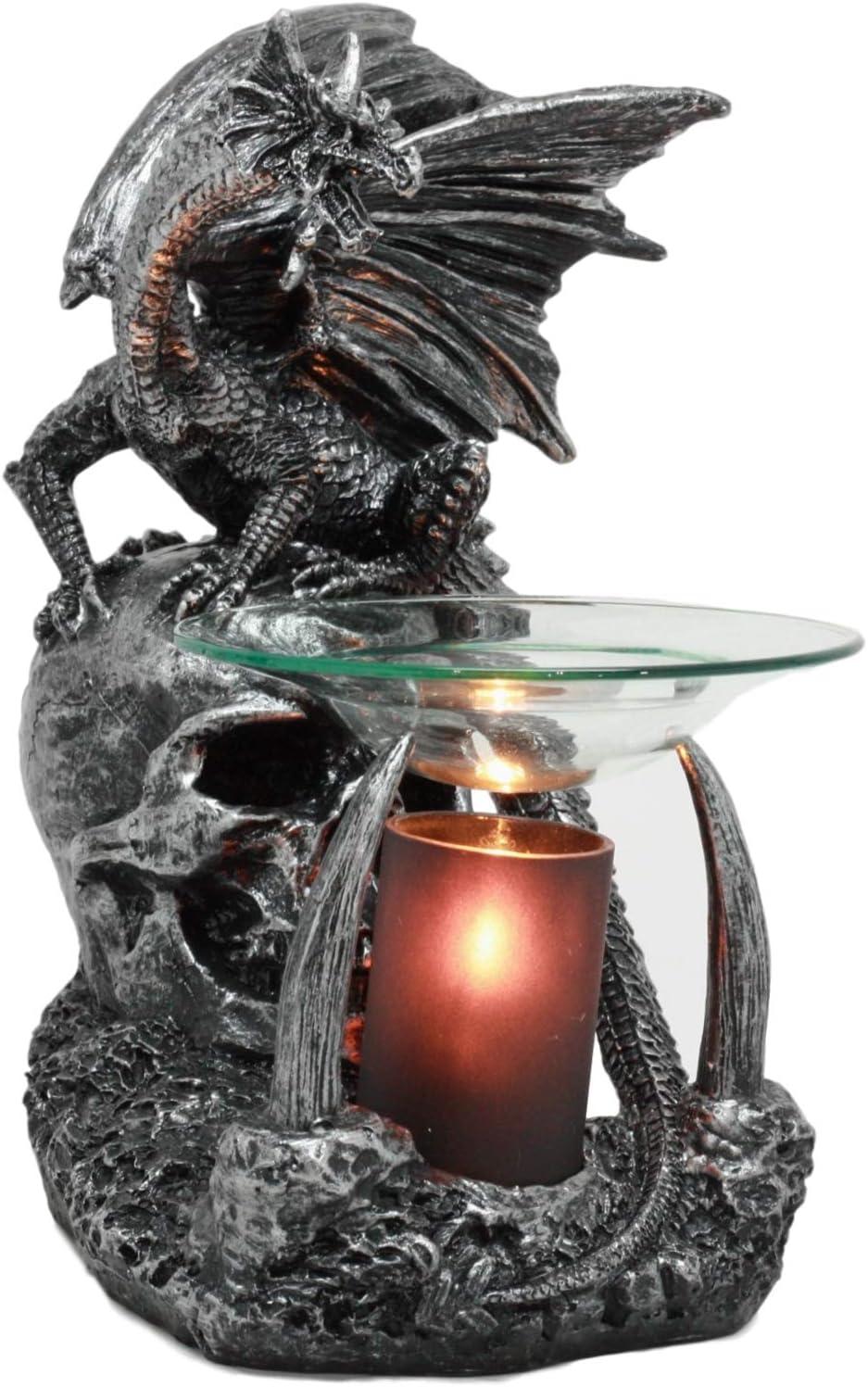 "Ebros Gothic Sabretooth Skull Graveyard Dragon Electric Oil Burner Or Tart Warmer Decor Statue 8.5"" Tall Home Fragrance Aroma Accessory Figurine"