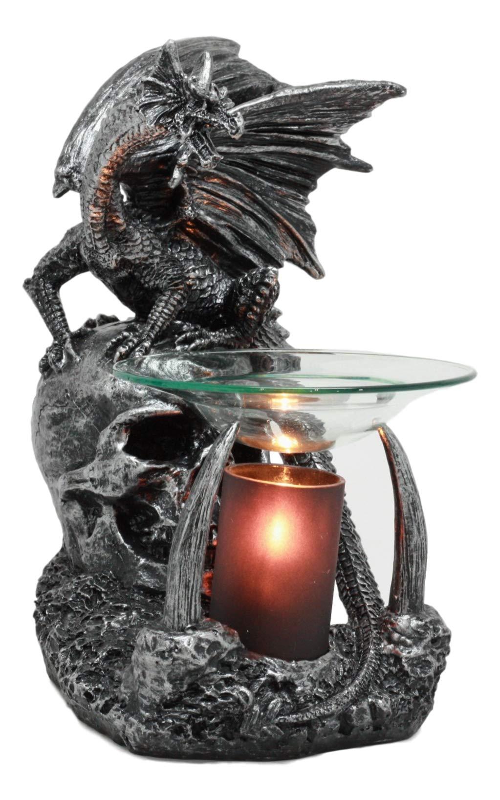 Ebros Gothic Sabretooth Skull Graveyard Dragon Electric Oil Burner Or Tart Warmer Decor Statue 8.5'' Tall Home Fragrance Aroma Accessory Figurine