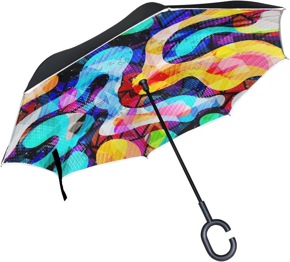 AHOMY Inverted Reverse Umbrella Graffiti Street Art Windproof for Car Rain Outdoor