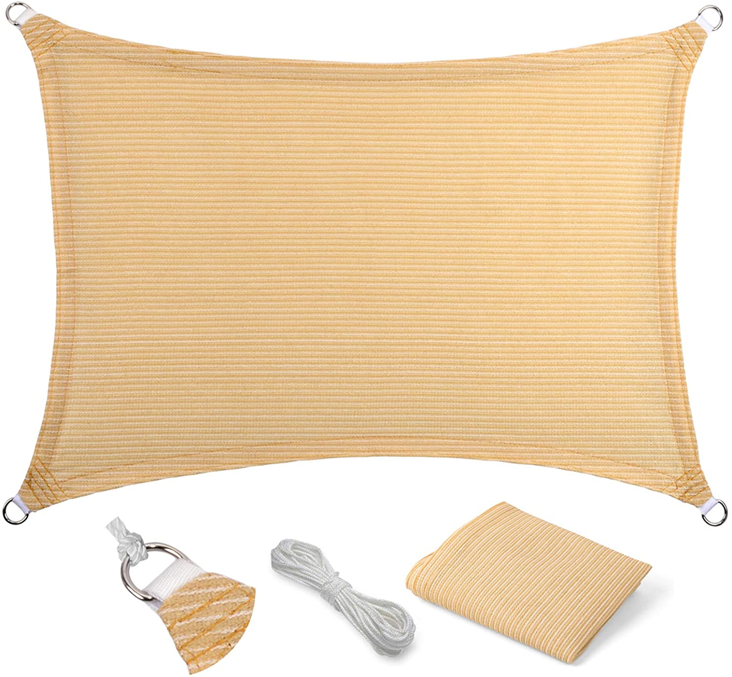 Sun Shade Sail Rectangular Outdoor with Durable Thick Air-Permeable UV Block Canopy Fabric Material for Garden, Patio, Swimming Pool, Backyard, Driveway, Fence, Deck, Carport (10' X 12', Beige)