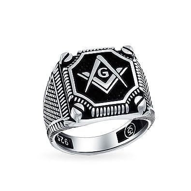 Freemason - Anillo de plata de ley 925 con incrustaciones de ...