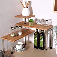 Ollieroo 3 Tier Corner Shelf Bamboo Spice Rack Desk Bookshelf Display Shelves Space Saving Organizer for Living Room…