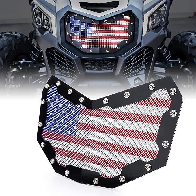 Black and White American Flag Style YOCTM Black Steel Mesh Grille Grill Insert Kit for 2017 2018 2019 2020 Can-Am Maverick X3 Front Bumper
