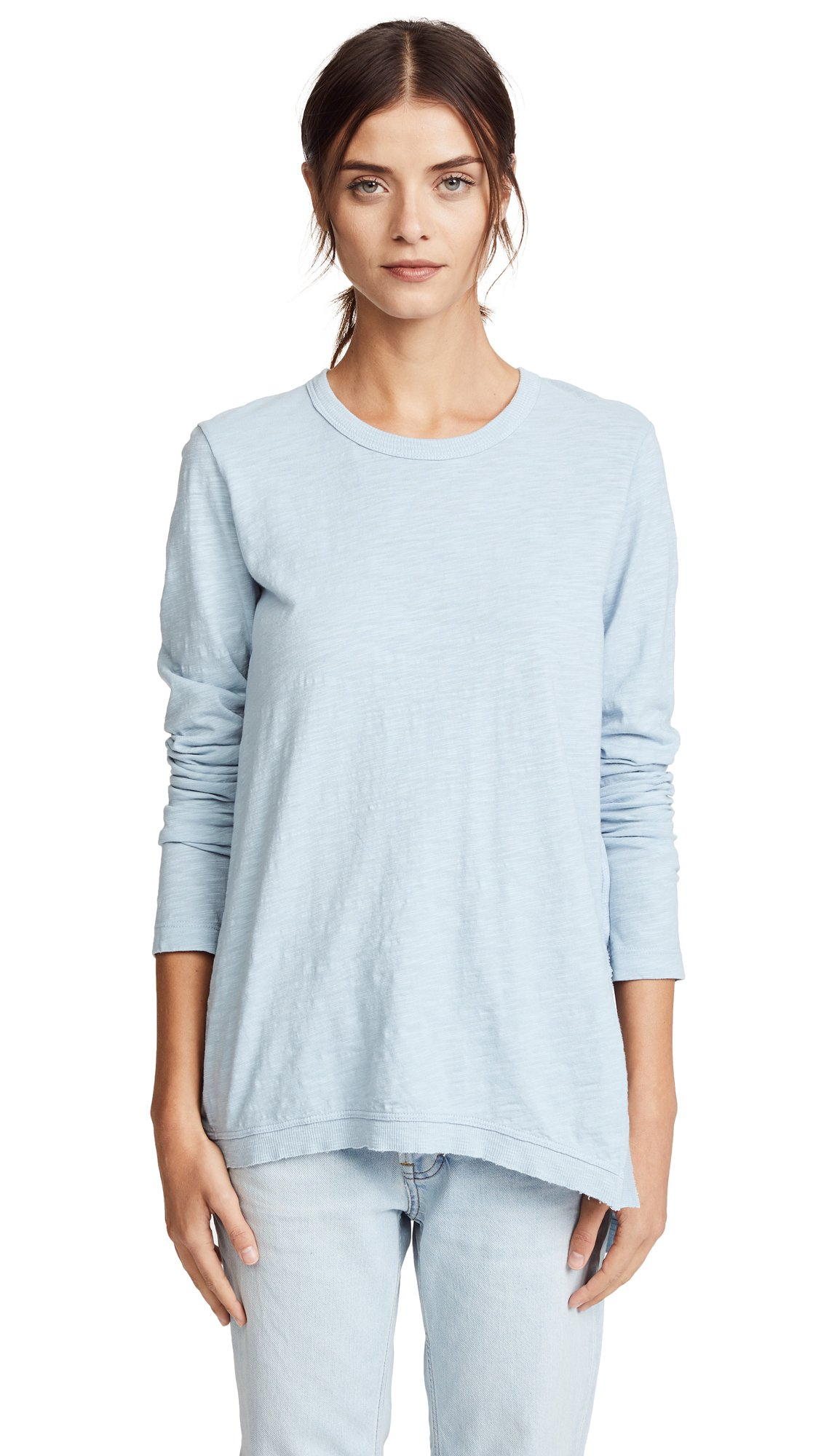 Wilt Women's Asymmetrical Tunic Tee, Washed Blue, Small