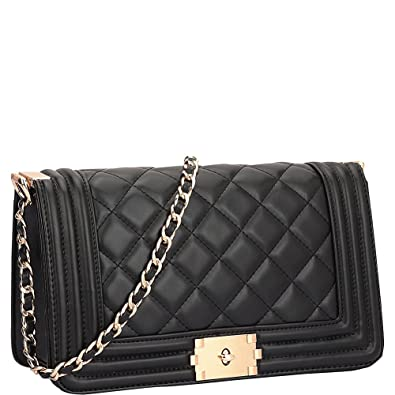 0656d8447e51 Image Unavailable. Image not available for. Color  Dasein Quilted Crossbody  Bag with Intertwined Leather Gold-Tone Chain Straps