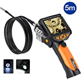 Potensic Digital Endoscope Borescope with Waterproof CMOS Camera and 3.5 inch Built-in Color LCD Screen – 16 ft / 5m Cable, 0.32 inch Camera Diameter, 4 Zoom Options