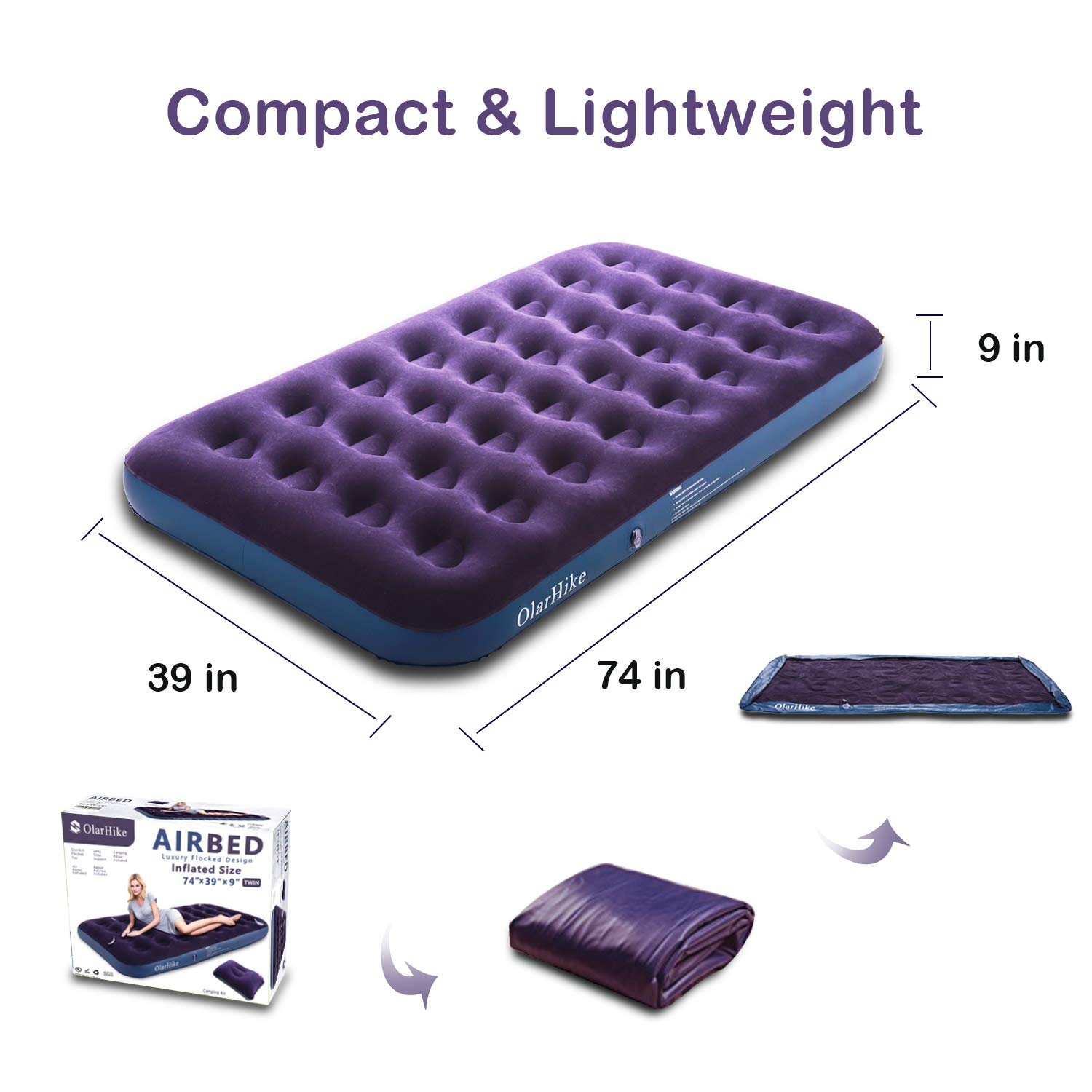 OlarHike Twin Air Mattress with Electric Pump, Portable Air Bed Blow Up Mattress for Camping Car, Repair Patches | Pillow Included by OlarHike (Image #6)