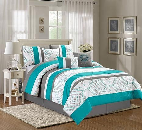 Amazon.com: 7 piezas cama en una bolsa, Peony Aqua Blue ...