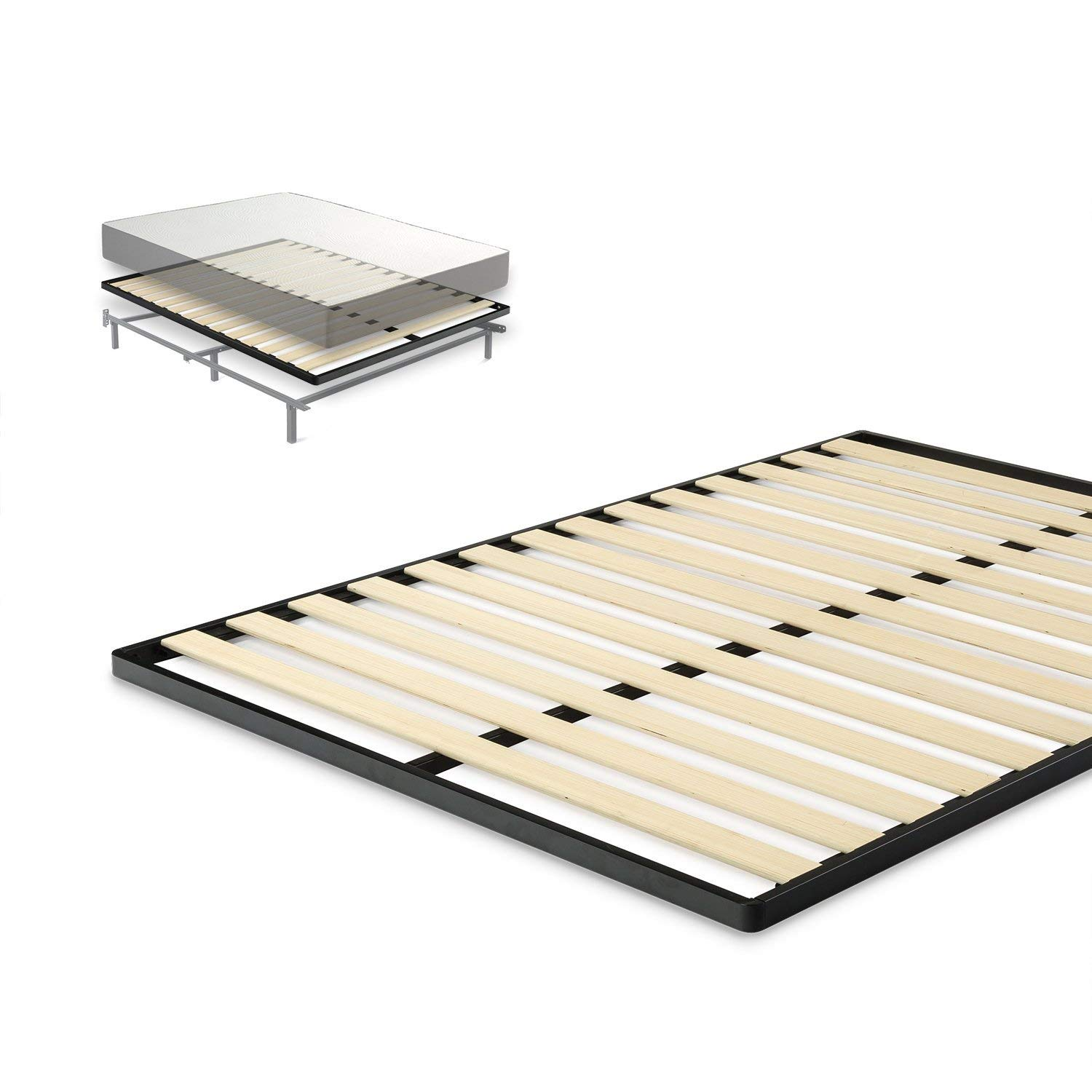 Zinus Easy Assembly Wood Slat 1.6 Inch Bunkie Board/Mattress Foundation/Quick and Easy Assembly, Queen (Renewed)