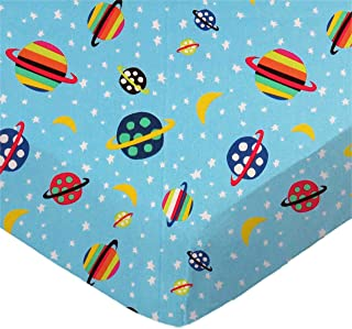 product image for SheetWorld Fitted 100% Cotton Percale Pack N Play Sheet Fits Graco Square Play Yard 36 x 36, Planets Blue, Made in USA