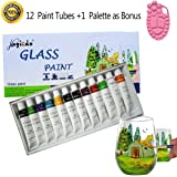 Magicdo® 12 Cols Glass Paint With Palette, Professional Glass Colour Set, Transparent Glass Painting Supplies for Artists, Stained Craft Paint Set, Rich Pigment(12 x 12ml)