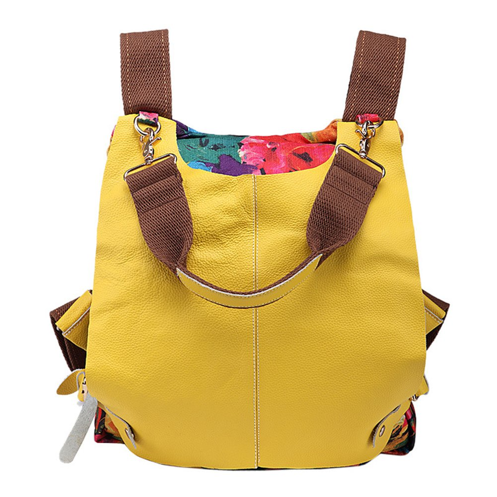 Real Oxhide Euro Fashion Women's Backpack Top Layer Leather Shoulder Bag Handbag (Yellow)