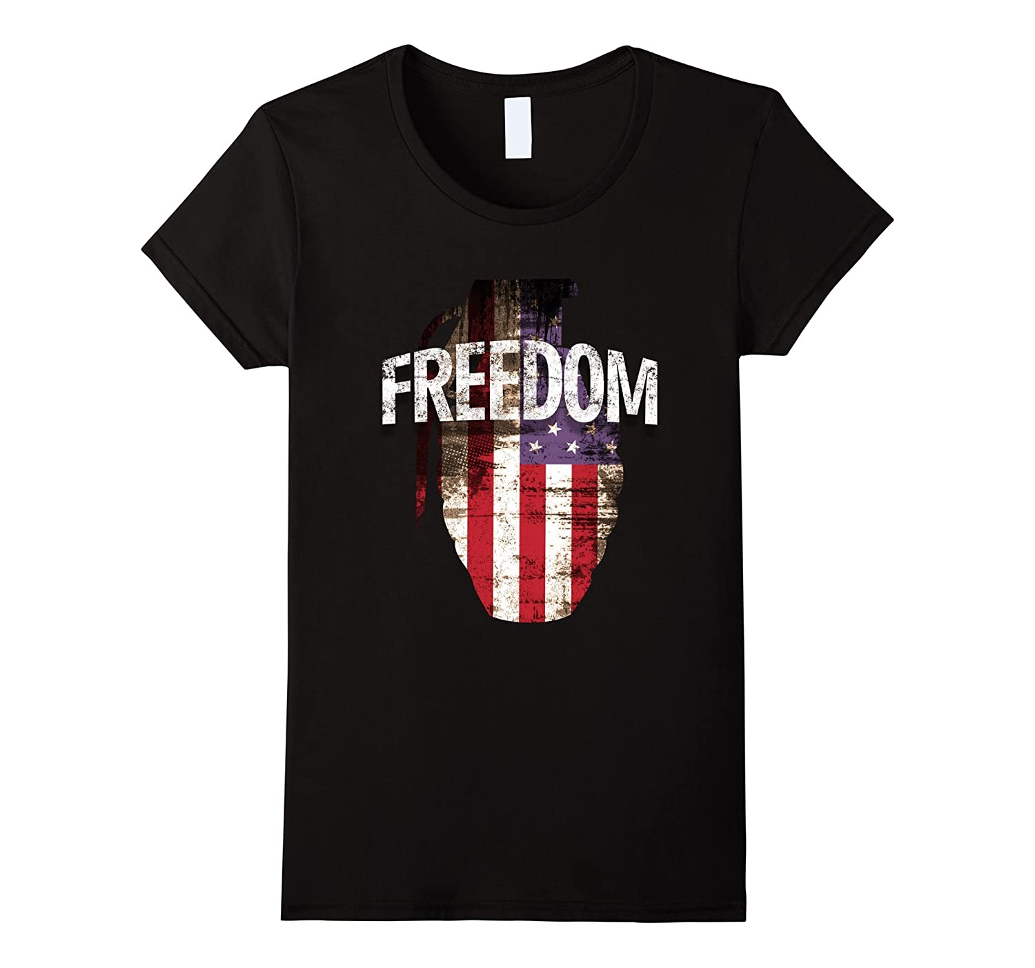 4th of July gun grenade USA Banner Flag Freedom Tee shirt