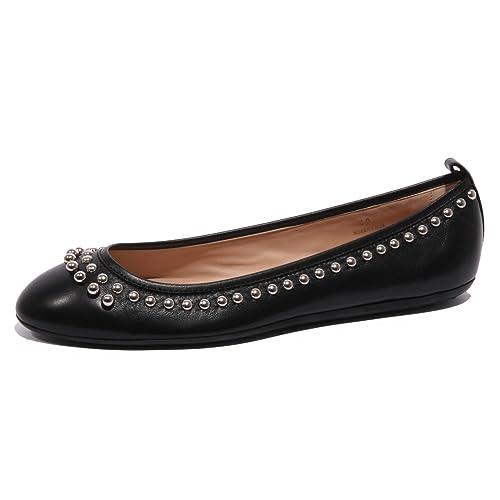 9108 ballerina TOD'S GOMMA FRANGIA BORCHIE nero scarpe scarpa shoes women [35] MXZ8k