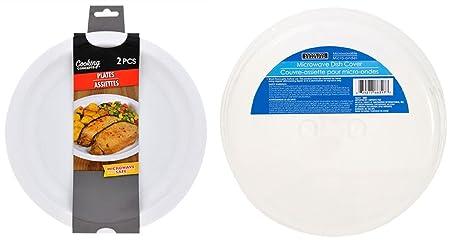 Platos microondas reutilizables de plástico blanco de 25,4 cm con ...
