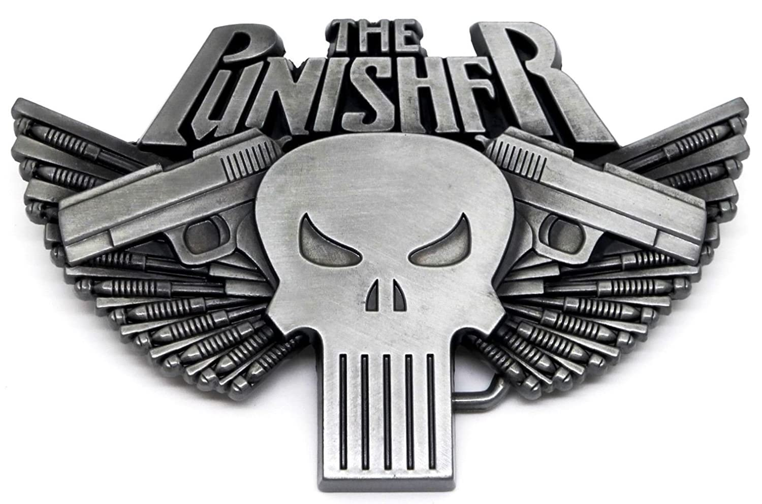 The Punisher Skull and Two Pistols Metal Belt Buckle