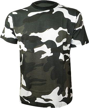 Hombre Camiseta Camuflaje Verde Blanco y Negro Cacería Gaming Camisa - Negro/Verde/Blanco, Small: Amazon.es: Ropa y accesorios