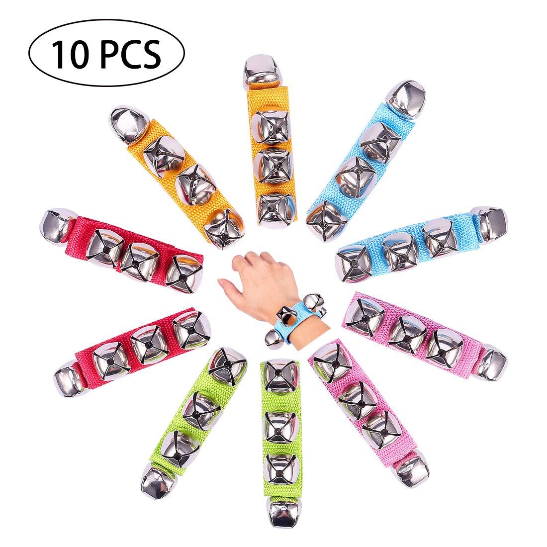 UMLIFE Band Wrist Bell 10 PCS Jingle Bells Musical Rhythm Toys Rattles Ring Bracelet for School Party