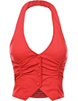FPT Womens Stretchy Cropped Halter Vest