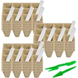 180 Cells Peat Seed Starter Tray Kit Biodegradable 15 Pcs Organic Peat Pots for Seedlings with 15 Plastic Plant Labels and 2
