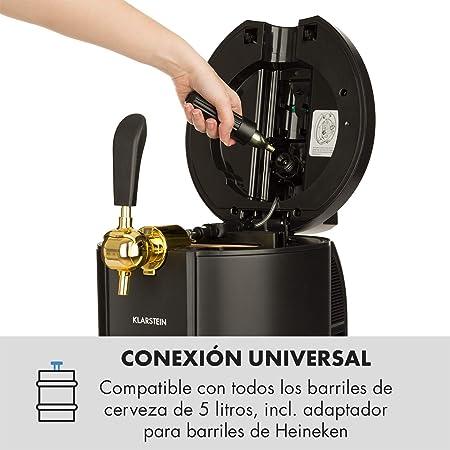 Klarstein Skal Black Edition - Dispensador y enfriador de cerveza, Apto para barriles 5 L, Enfriamiento termoeléctrico, 3 cartuchos de presion CO² incluídos, Pantalla LED, Negro