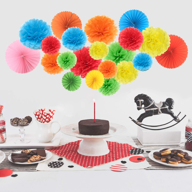 Fiestas decorar arcoiris fiestas de cumplea/ños terciopelo de papel y pliegues de papel para decorar bodas fiestas de bodas y decoraci/ón al aire libre 15 terciopelos y 6 ventiladores de papel.