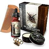 Every Day Carry Comb Kit: Valhalla Beard Oil & Beard Balm W/ BONUS Mini Wood Brass Knuckles Balm/Mustache Comb