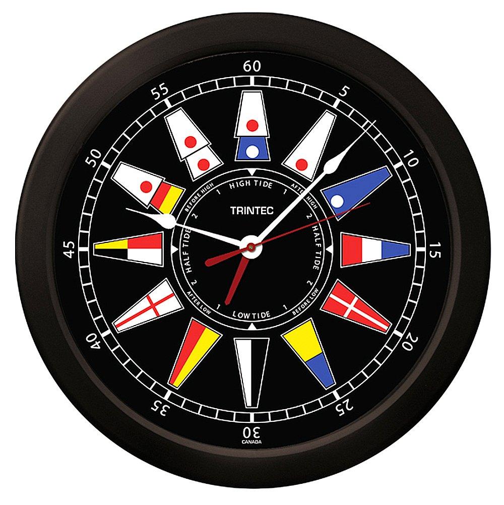 Trintec Atlantic Nautical Flag Time & Tide Indicator Clock Massive 14'' Round Black Dial TT-02-NF-14