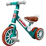 Baby Balance Bike with Detachable Pedals, Baby Trike/Tricycle, Toddlers Walking Bicycle for 2-4 Years Old Boys and Girls Rain
