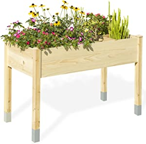 MIXC Raised Garden Bed, Fir Wooden Planter Boxes for Outdoor Plants, Elevated Standing Planter with Waterproof Legs, 46x22x30-inch