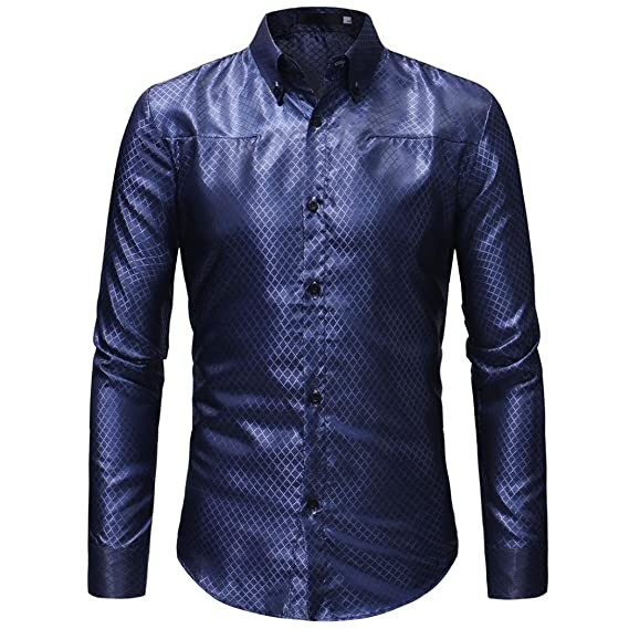 Camisas De Hombres,Moda Personalidad Casual Slim Camisas De Manga Larga Blusa De Cuadros De