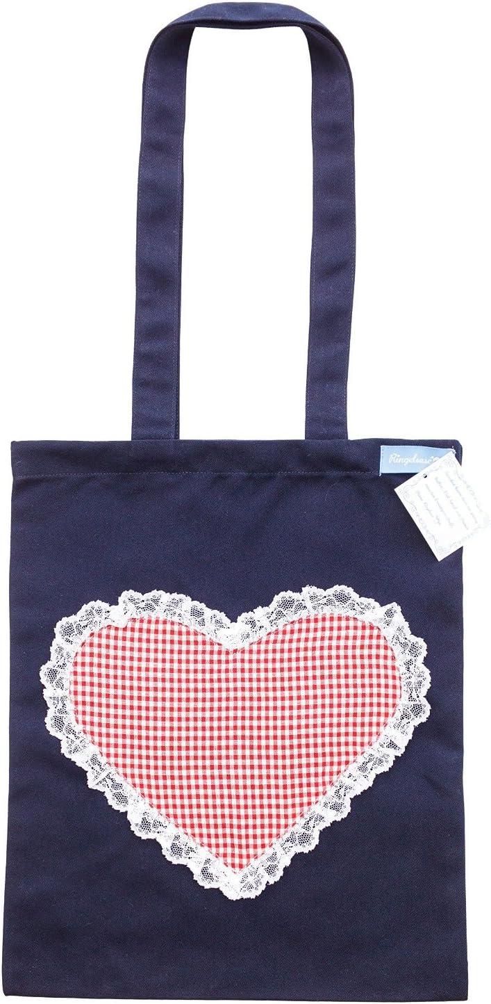 Bolsa de Compra asa algodón Azul corazón Rojo Blanco de Cuadros 33 x 26 cm Ringelsuse: Amazon.es: Equipaje