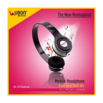 Ubon UB-1370 On Ear Headphones with Pure Bass and Mic - Black