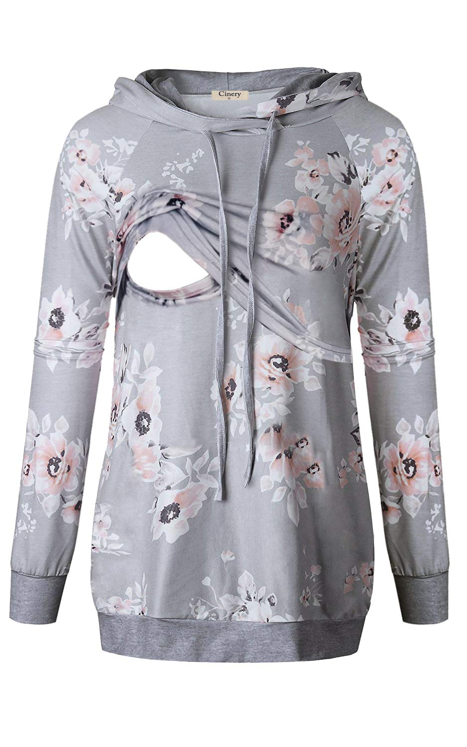 Cinery Nursing Tops Women, Ladies 2 in 1 Style V-Neck Long Sleeve Pullover Hoodies Banded Bottom Post-partum Sweatshirts Blouses Top for Juniors (Floral Grey XXL)