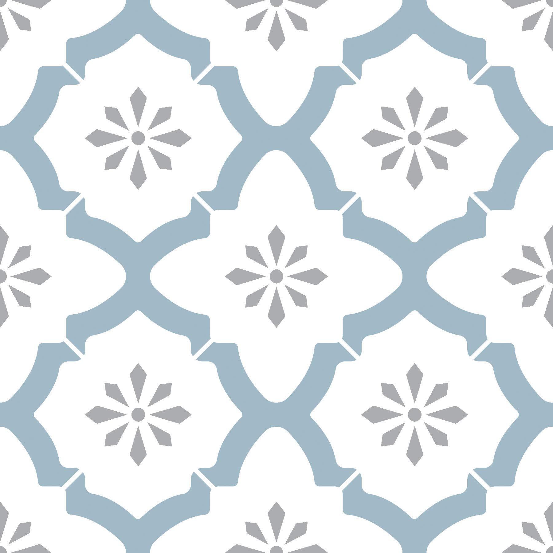 WallPops FP2943 Alfama Peel & Stick Floor Tiles, Multi-Colour