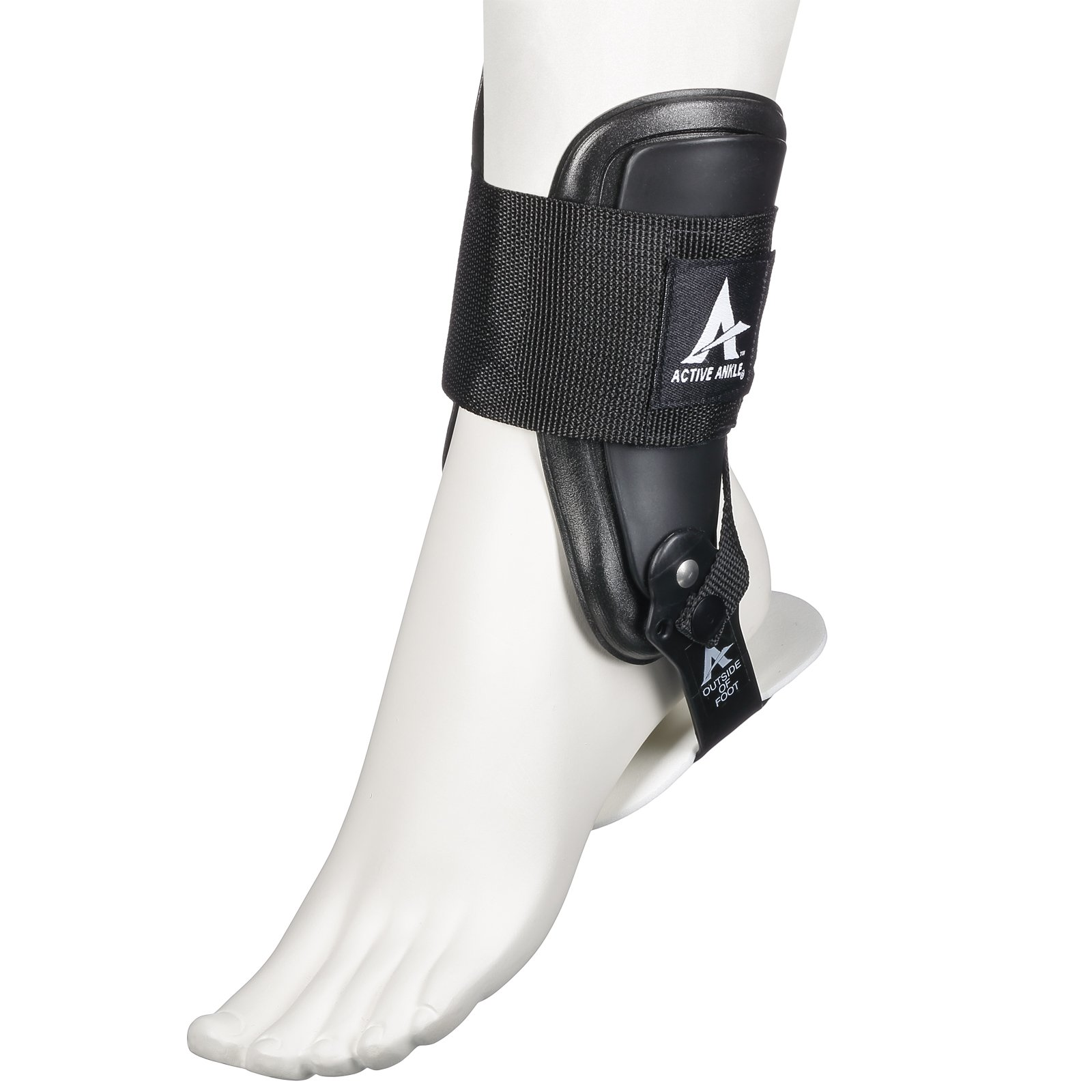 Active Ankle T2 Ankle Brace, Rigid Ankle Stabilizer for Protection & Sprain Support for Volleyball, Cheerleading, Ankle Braces to Wear Over Compression Socks or Sleeves for Stability, Black
