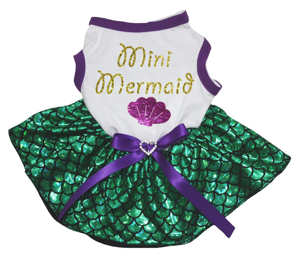 Petitebella Mini Mermaid Shell White Shirt Green Mermaid Tutu Puppy Dog Dress (Small)