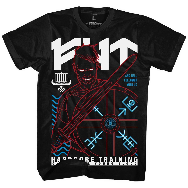 Hardcore Training T-Shirt Mens Norman Mens T-Shirt Homme Noir BJJ MMA Boxing Active Fitness Fitness