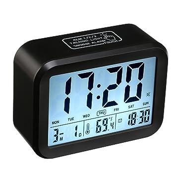 Despertador Digital, CompraFun Reloj Despertador con Alarma Luz de Noche (Negro): Amazon.es: Hogar